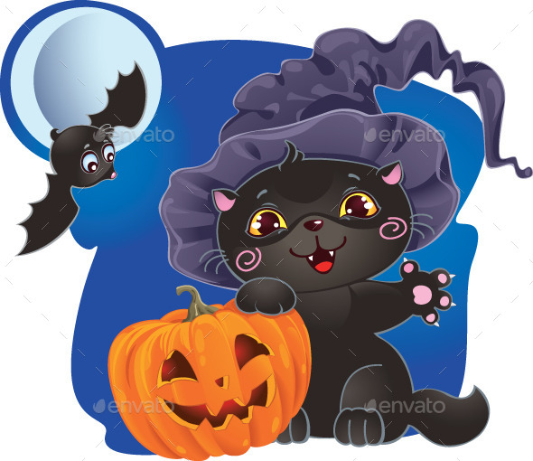 Halloween Illustration with Kitten and Pumpkin