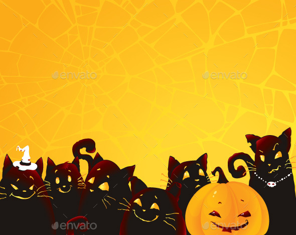 GraphicRiver Halloween Background with Black Cats and Pumpkin 8861833