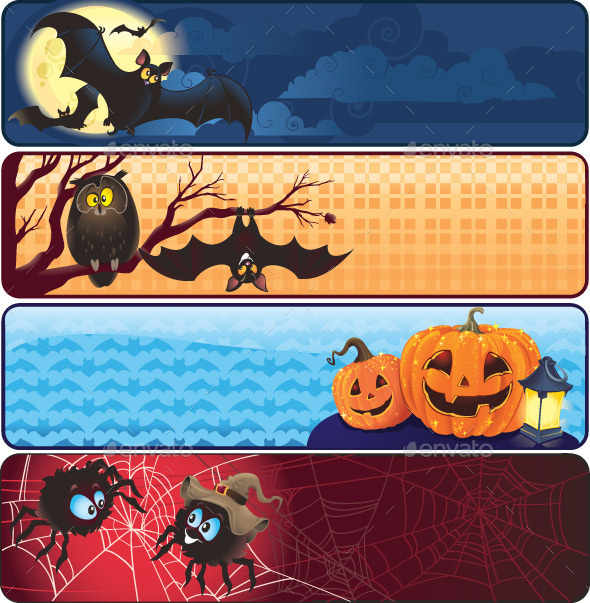 GraphicRiver Funny Halloween banners 8861841