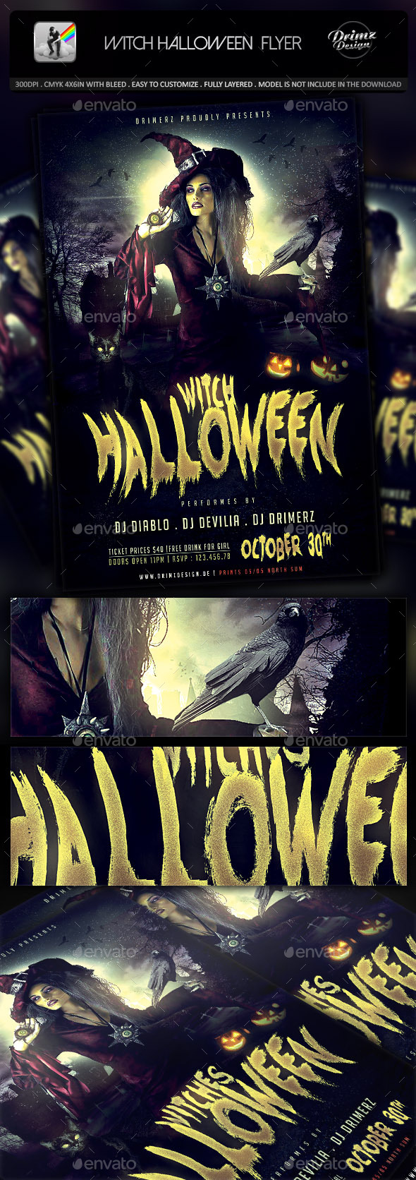 GraphicRiver Witch Halloween Flyer 8861936