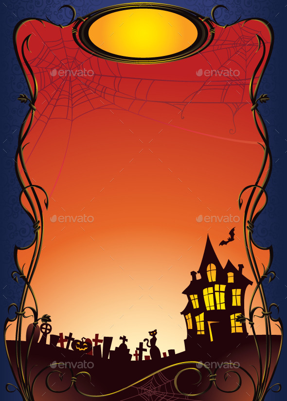 GraphicRiver Halloween Background with Haunted House and Graveyard 8862362