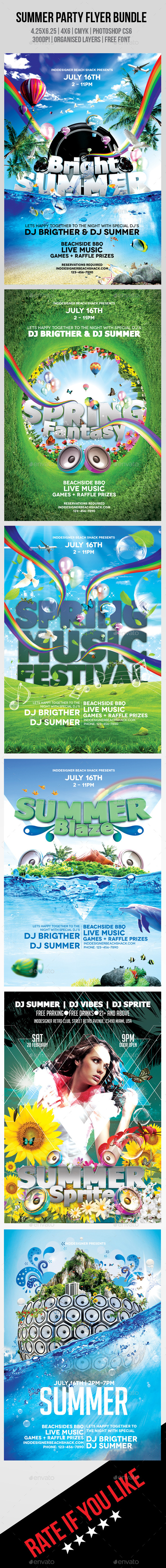 GraphicRiver Summer Party Flyer Bundle 8862643