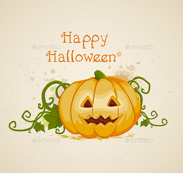 GraphicRiver Halloween Background with Pumpkin 8862718