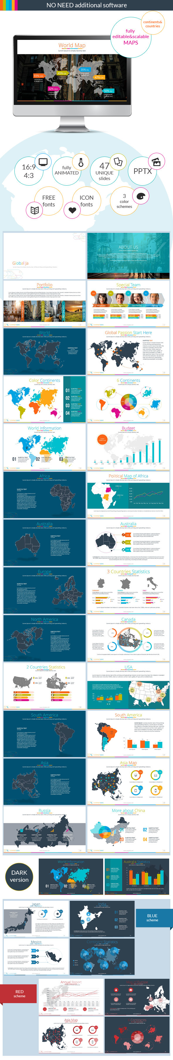 GraphicRiver Continents&Countries PowerPoint Presentation 8862729