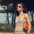 Beautiful urban woman in beach dress and sunglasses. Closeup vintage - PhotoDune Item for Sale
