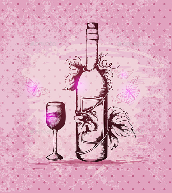 GraphicRiver Bottle of Wine on a Pink Background 8862836