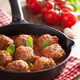meatballs with tomato sauce in black pan - PhotoDune Item for Sale