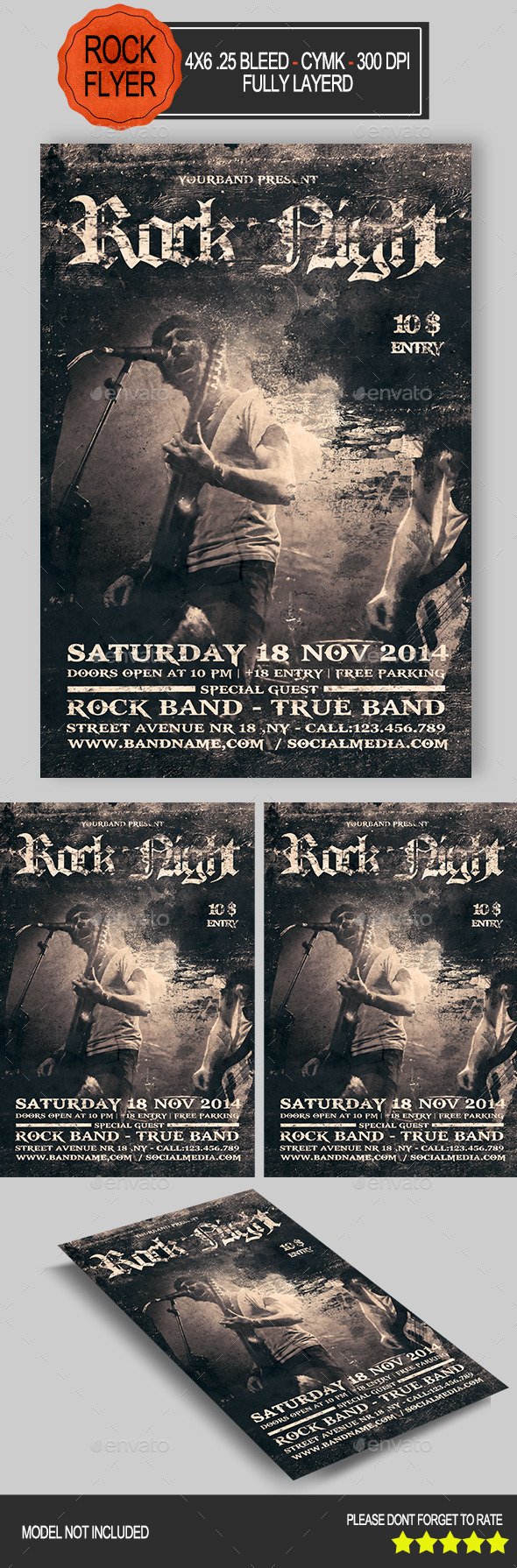 GraphicRiver Rock Night Flyer 8859196