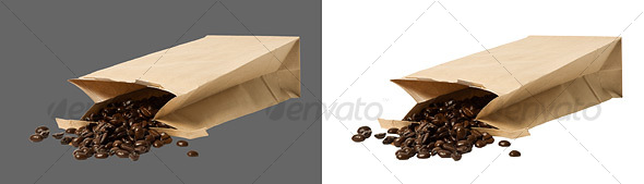 Coffee Beans in brown paper bag - Food & Drink Isolated Objects