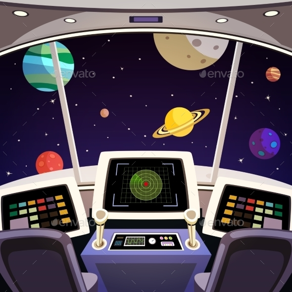 GraphicRiver Spaceship Cartoon Interior 8863799