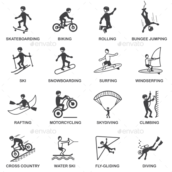 GraphicRiver Extreme Sports Icons Set 8863815