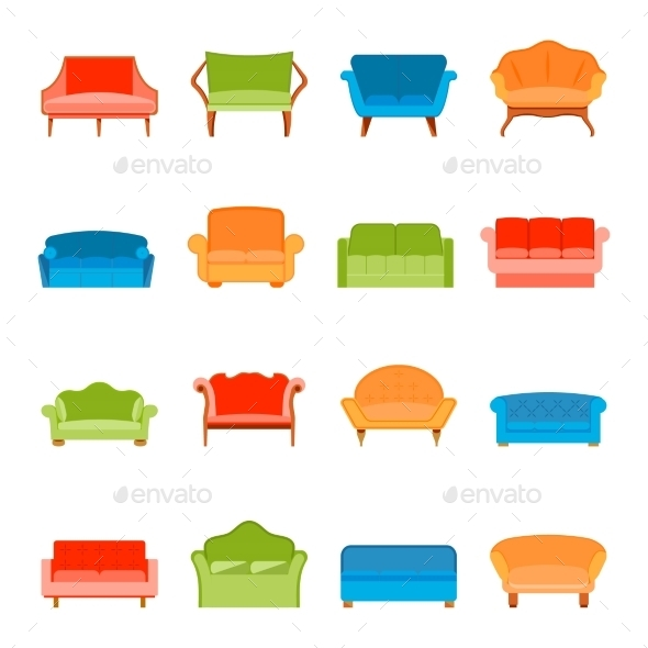 GraphicRiver Flat Sofa Icon 8863830