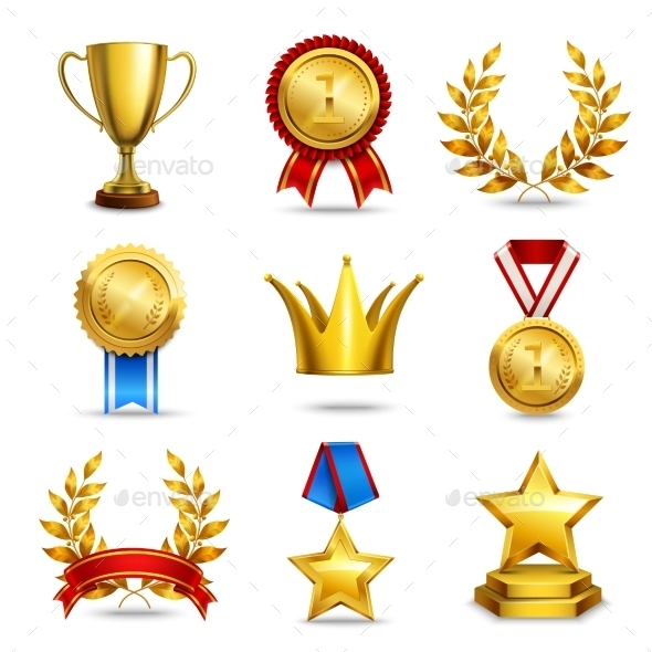 Realistic Award Icons Set