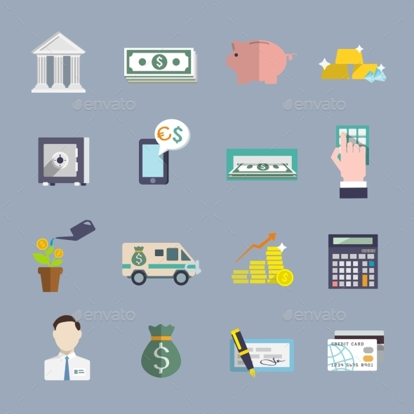 GraphicRiver Bank Service Icons Flat Set 8863836