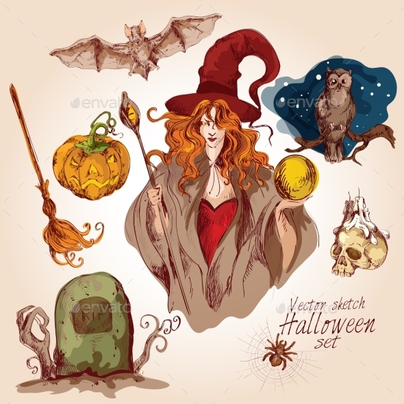 GraphicRiver Halloween Colored Sketch Set 8863838