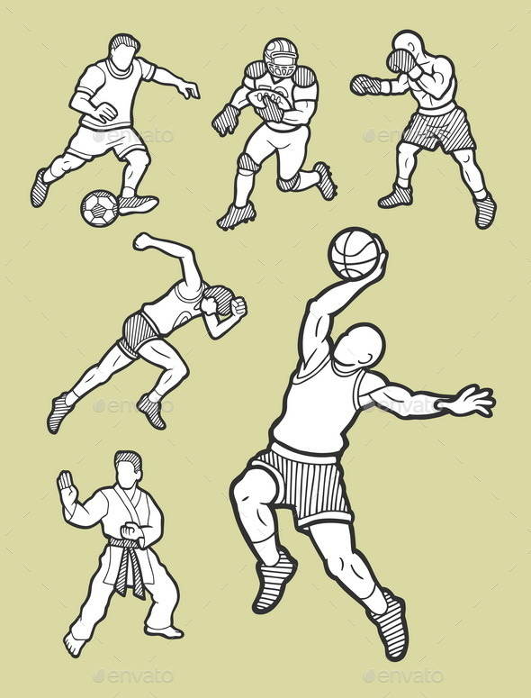 GraphicRiver Male Sport Icons Sketch 8864098
