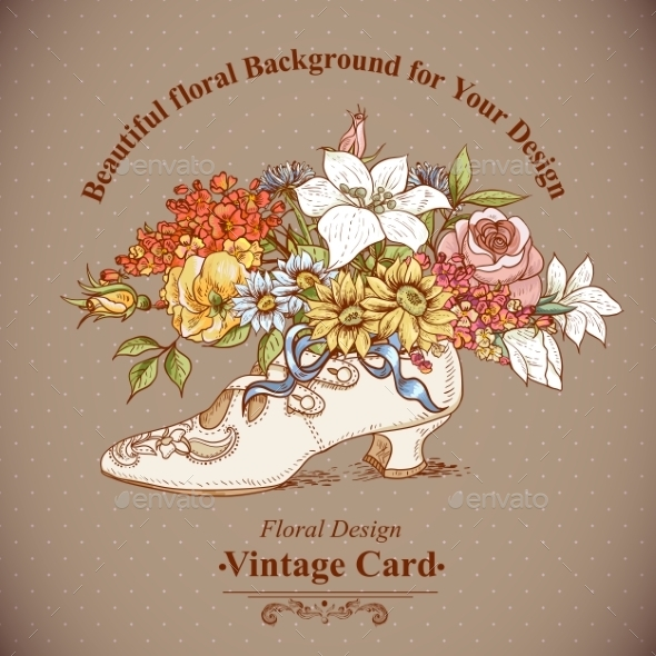 GraphicRiver Vintage Background with Flowers and Shoes 8864103