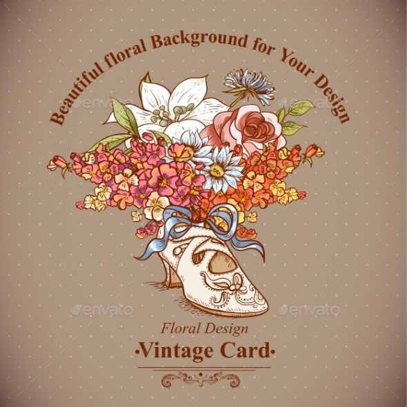 GraphicRiver Vintage Background with Flowers and Shoes 8864110