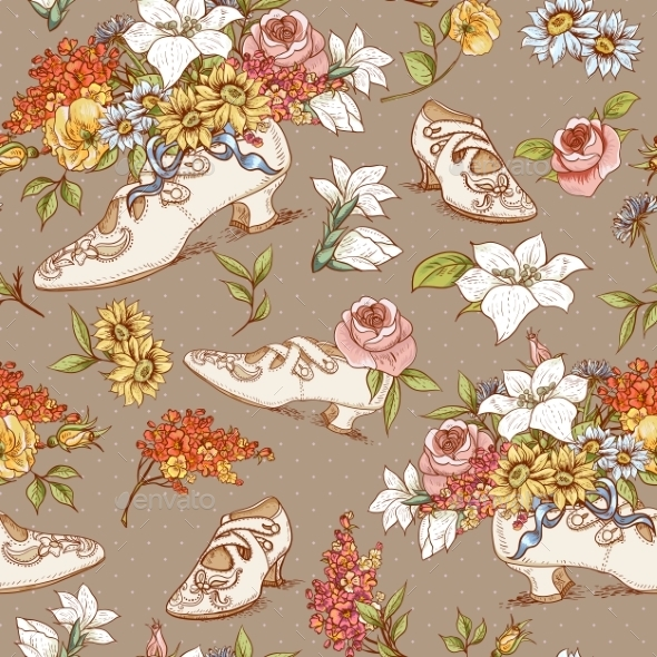 GraphicRiver Seamless Vintage Flowers and Shoes Background 8864120