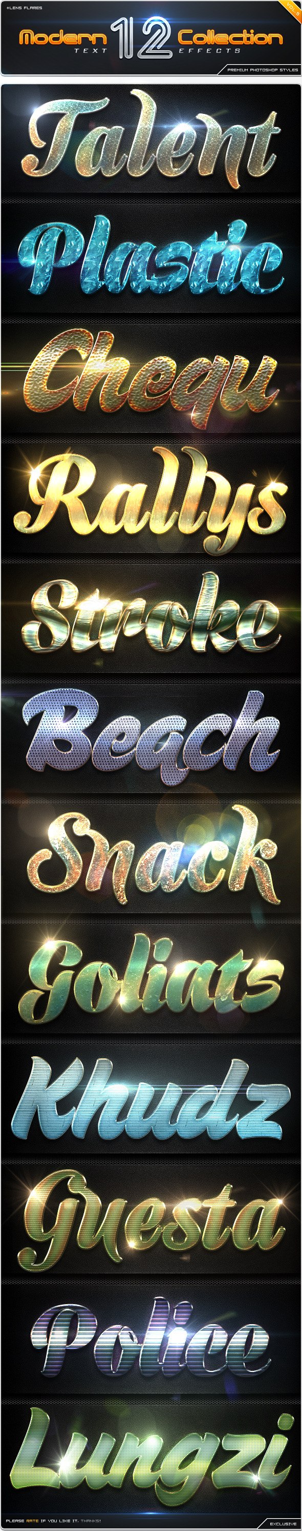 GraphicRiver 12 Modern Collection Text Effect Styles Vol.5 8864278