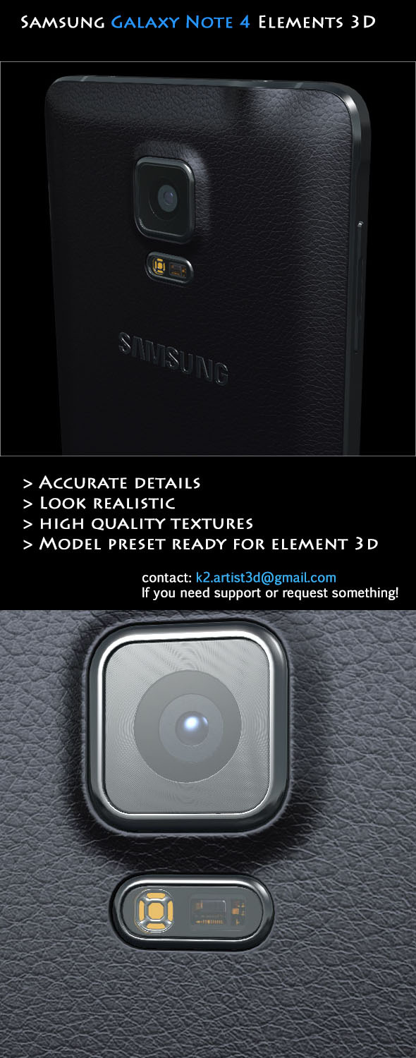 3DOcean Samsung Galaxy Note 4 Black Element 3D 8866082