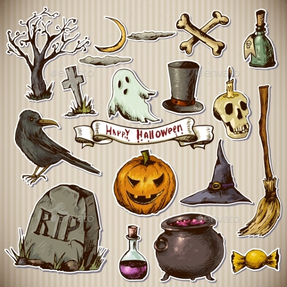 GraphicRiver Set of Doodles Design Halloween Elements 8866222