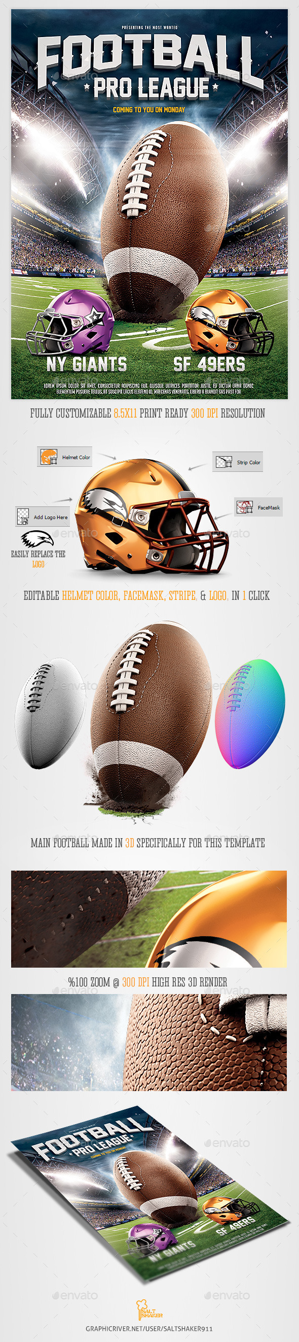 GraphicRiver American Football League Flyer Template 8866378