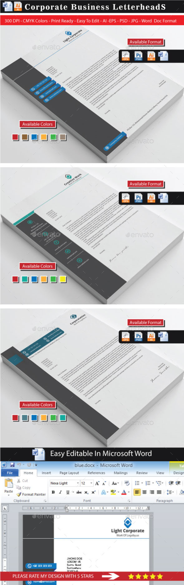 GraphicRiver Corporate Modern Letterhead Bundle 8866389