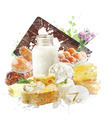 Watercolor Image Of Dairy Products - PhotoDune Item for Sale
