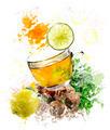 Watercolor Image Of Green Tea - PhotoDune Item for Sale
