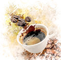 Watercolor Image Of Morning Coffee - PhotoDune Item for Sale