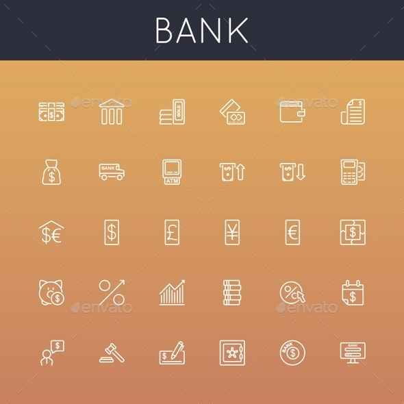 GraphicRiver Vector Bank Line Icons 8866703