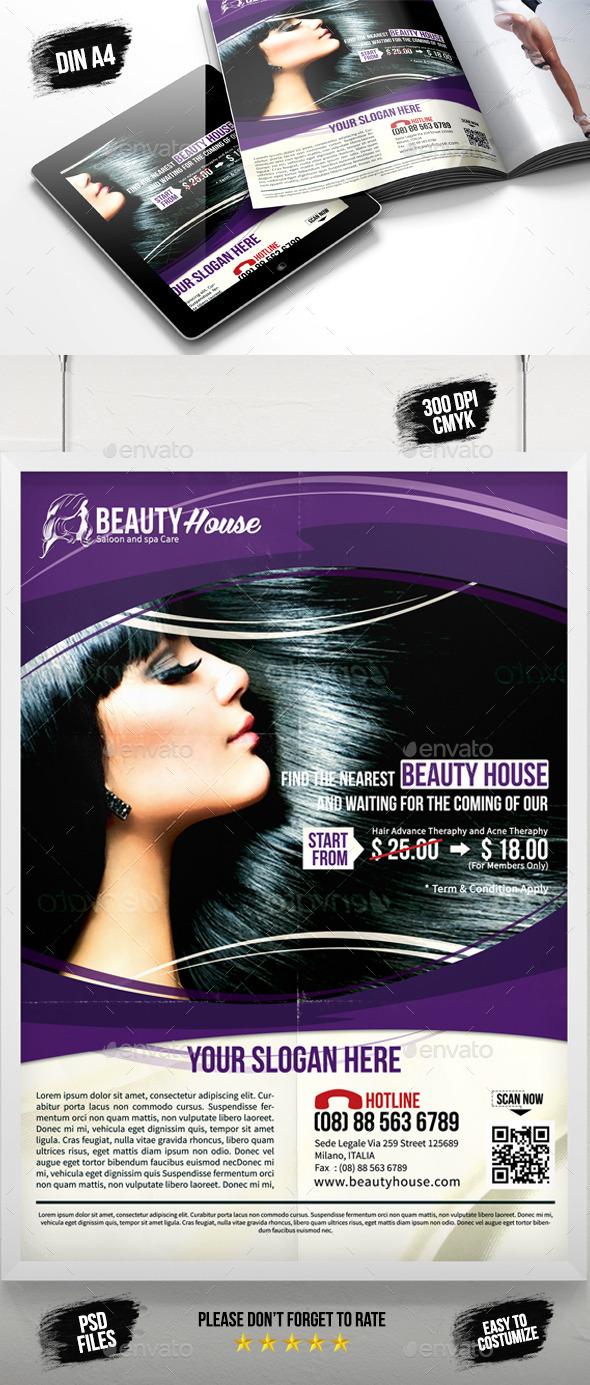 GraphicRiver Beauty House Saloon Spa Flyer 8866855