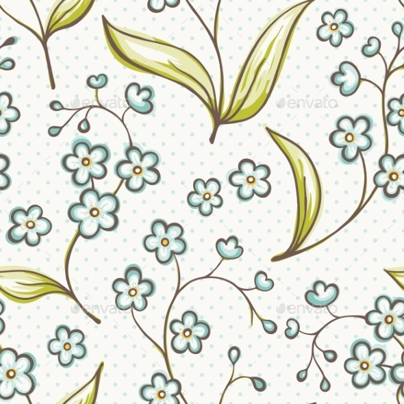 GraphicRiver Beautiful Seamless Pattern with Forget-Me Not 8867576
