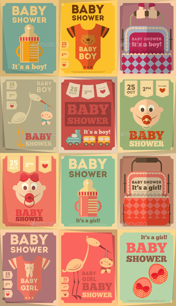 GraphicRiver Baby Shower Posters 8867681