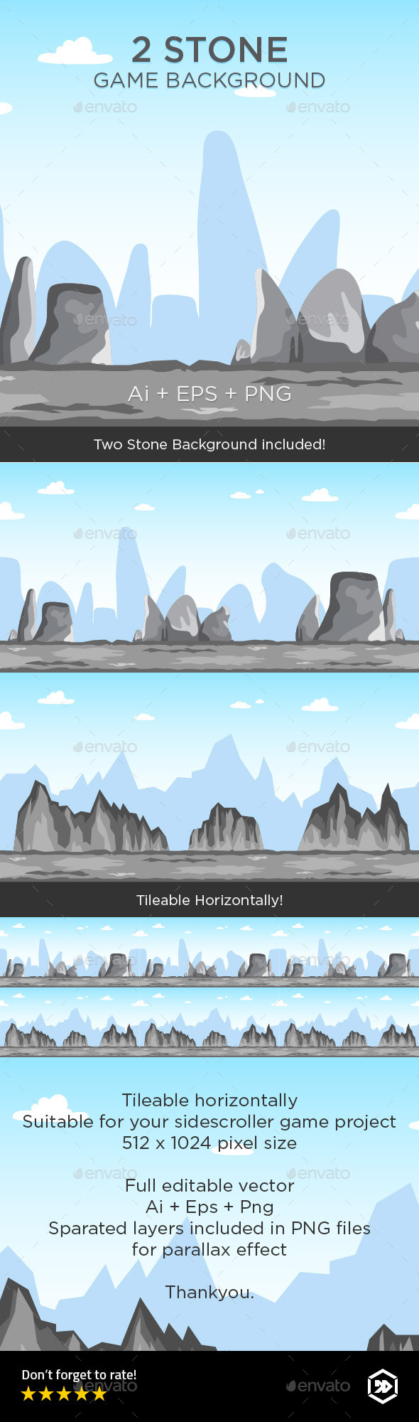 GraphicRiver 2 Tileable Stone Game Background 8867767