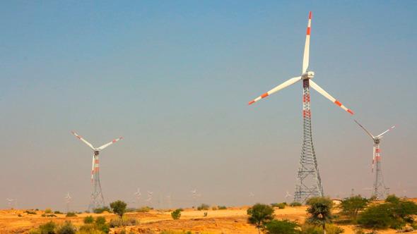 Wind Farm Summer Day