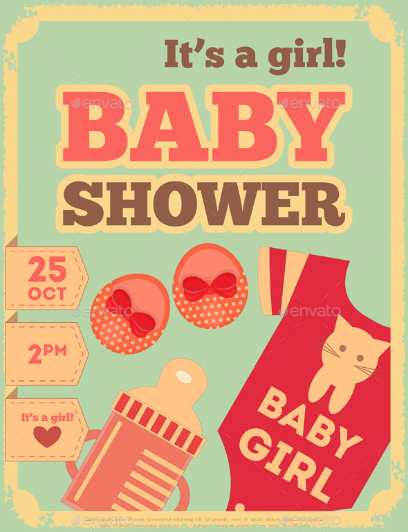 GraphicRiver Baby Shower Retro Poster 8868085