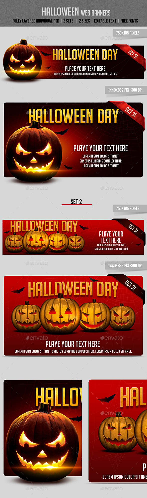GraphicRiver Halloween Web Banners 8868348