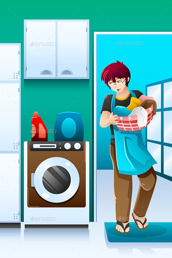 GraphicRiver Man doing Laundry 8869609