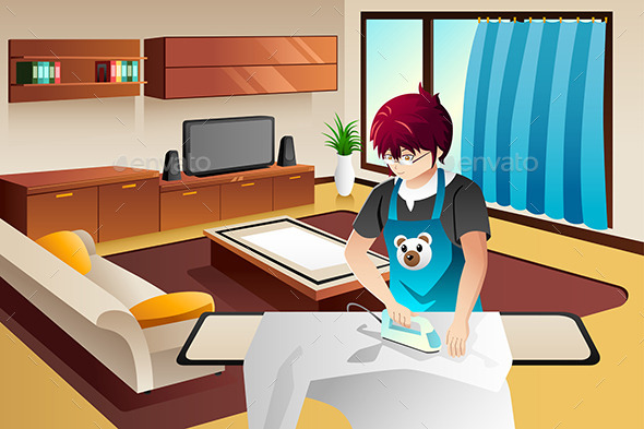 GraphicRiver Man Ironing 8870383