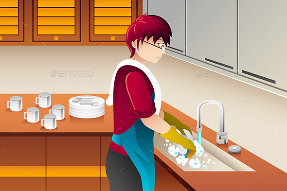 GraphicRiver Man washing Dishes 8870396
