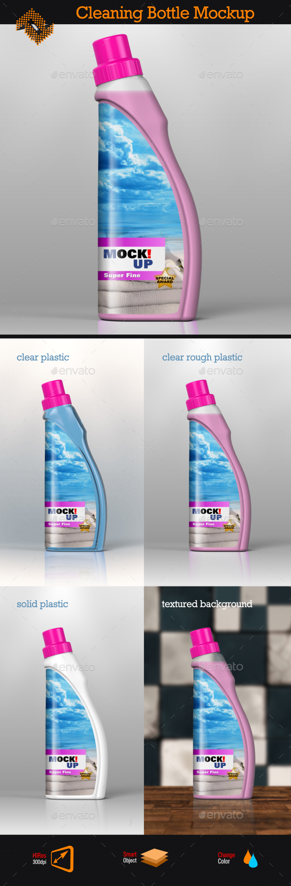 GraphicRiver Cleaning Bottle Mockup 8870701