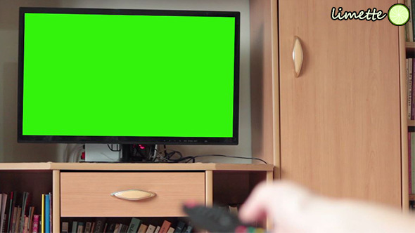 Watching TV Green Screen