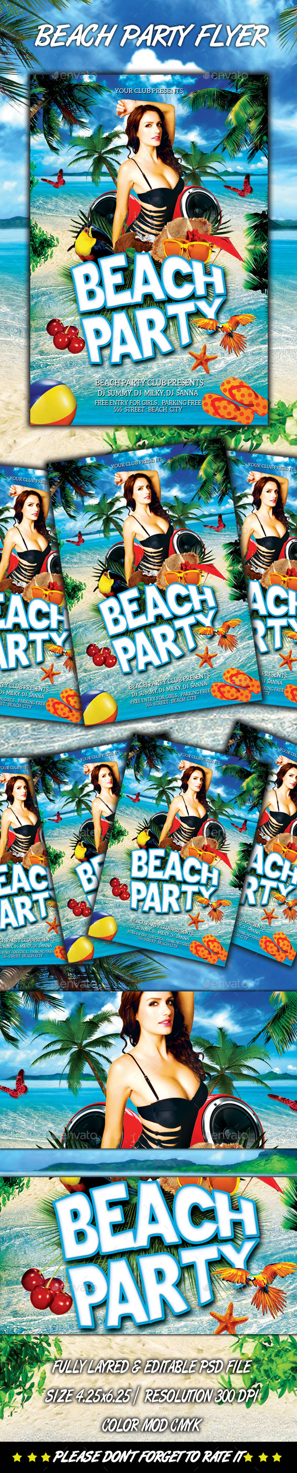GraphicRiver Beach Party Flyer 8859582