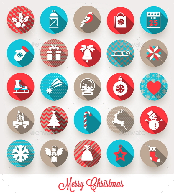 GraphicRiver Set of Christmas Flat Icons with Long Shadow 8871043