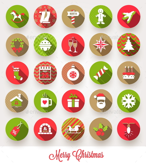 GraphicRiver Set of Christmas Flat Icons with Long Shadow 8871048