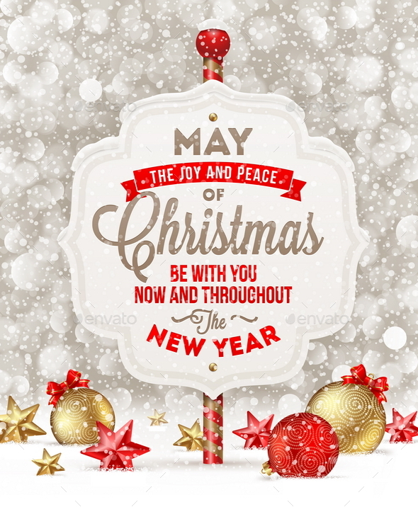 GraphicRiver Signboard with Christmas Greeting and Decoration 8871199