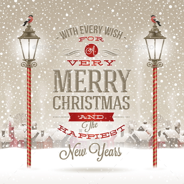 GraphicRiver Christmas Type Design with Vintage Street Lantern 8871450