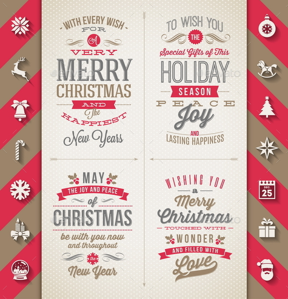 GraphicRiver Set of Christmas Type Designs and Flat Icons 8871494